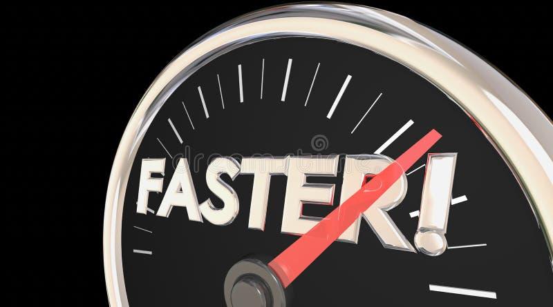 Aceleração rápida da ação do velocímetro mais rápido da palavra ilustração royalty free