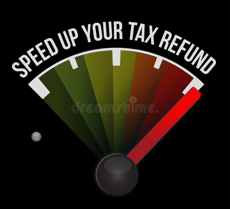 Acelere su ejemplo del velocímetro del reembolso del impuesto stock de ilustración