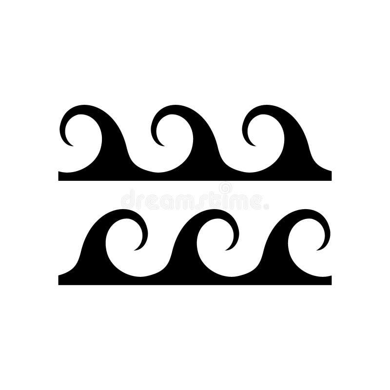 Acena o ícone Símbolo líquido da água isolado no fundo branco Mar, rio ou sinal de fluxo oceânico, linhas de dobra vetor e illust ilustração royalty free