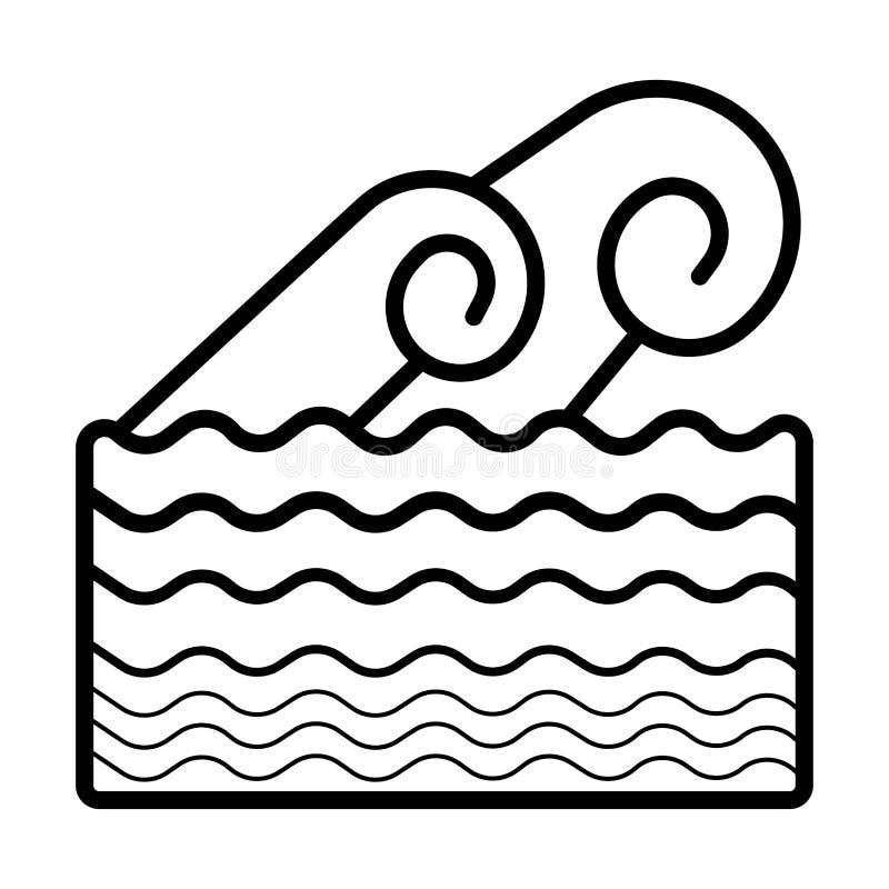 Acena o ?cone Fluxo do mar ilustração stock