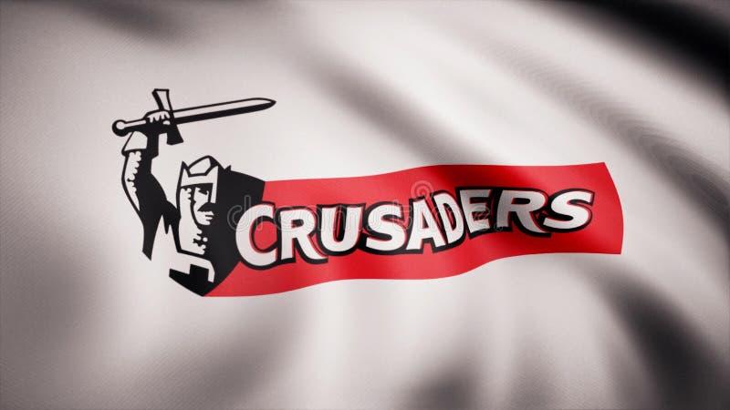 Acenando na bandeira do vento com o símbolo da equipe do rugby os cruzados Conceito dos esportes Uso editorial somente ilustração royalty free