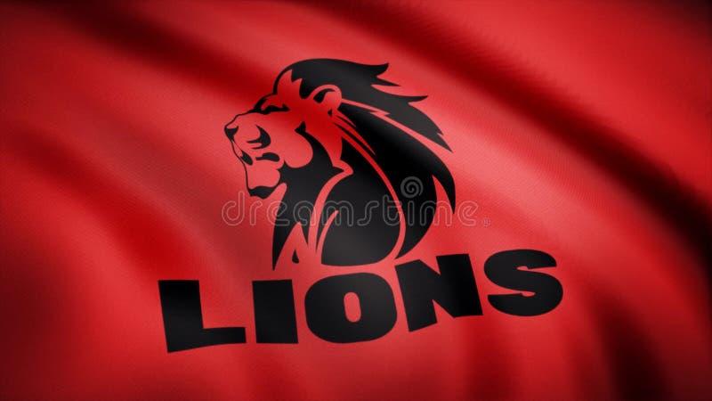 Acenando na bandeira do vento com o símbolo da equipe do rugby os leões Conceito dos esportes Uso editorial somente ilustração do vetor