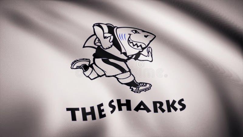 Acenando na bandeira do vento com o símbolo da equipe do rugby os tubarões Conceito dos esportes Uso editorial somente ilustração do vetor