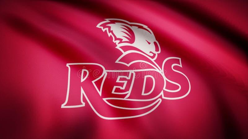Acenando na bandeira do vento com o símbolo da equipe do rugby os vermelhos de Queensland Conceito dos esportes Uso editorial som ilustração stock