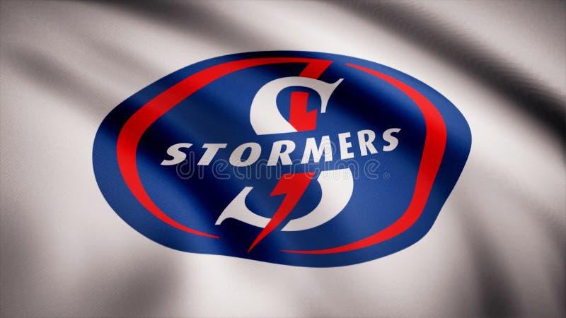 Acenando na bandeira do vento com o símbolo da equipe do rugby o Stormers Conceito dos esportes Uso editorial somente ilustração royalty free
