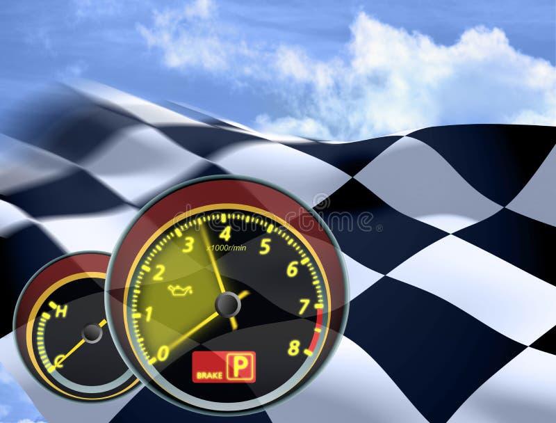 Acenando uma bandeira checkered ilustração royalty free