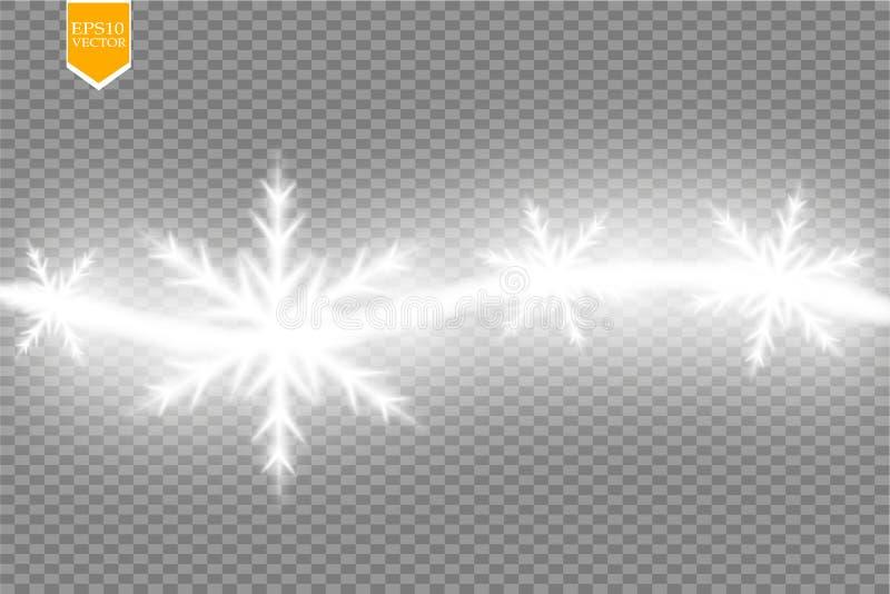 Acene o efeito da fuga das estrelas e dos flocos de neve no fundo transparente Ilustração clara abstrata do vetor da pintura ilustração do vetor