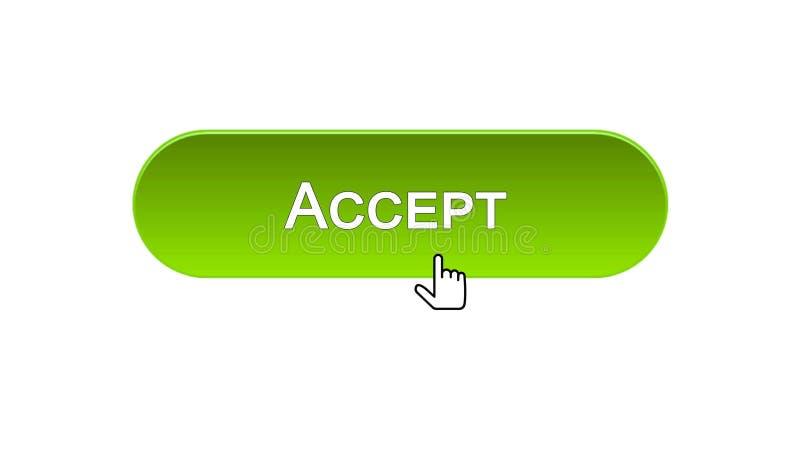 Acepte el botón del interfaz del web hecho clic con el cursor del ratón, diseño del color verde ilustración del vector