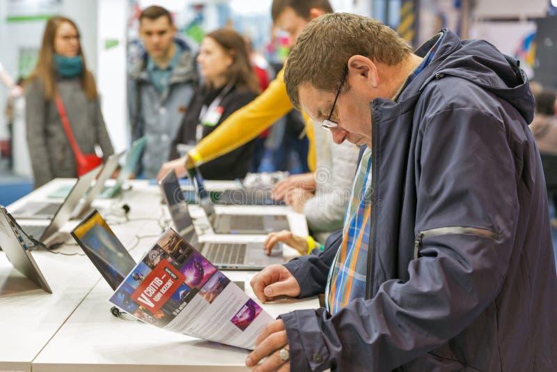 Acer budka podczas CEE 2019 w Kyiv, Ukraina zdjęcie stock