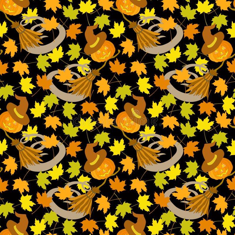 Acero senza cuciture del cappello della zucca della scopa del modello di Halloween illustrazione vettoriale