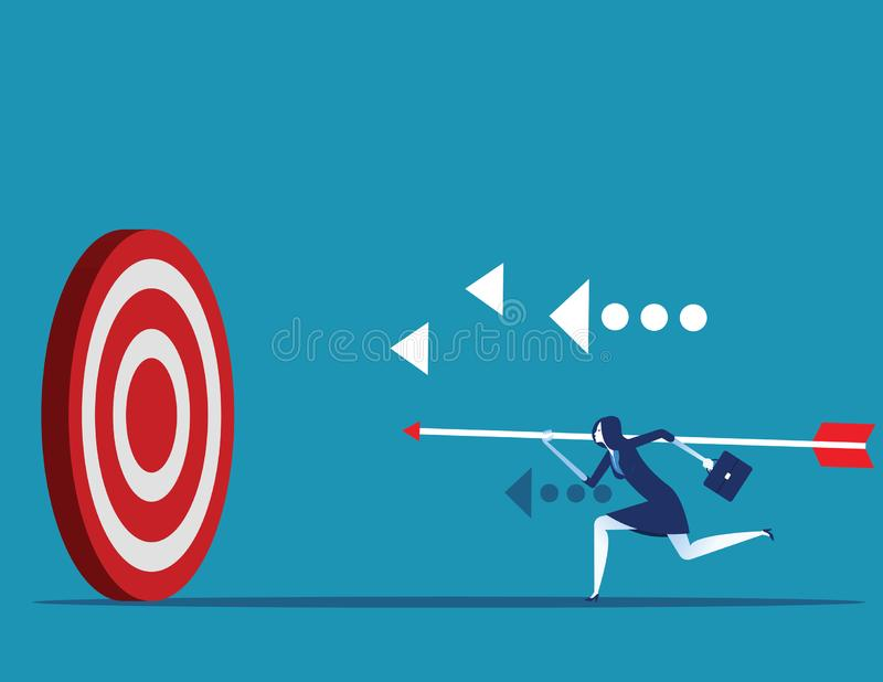 acertado Flecha de la tenencia de la empresaria e ir al objetivo del alcance de la exactitud Ejemplo del vector del logro del con ilustración del vector