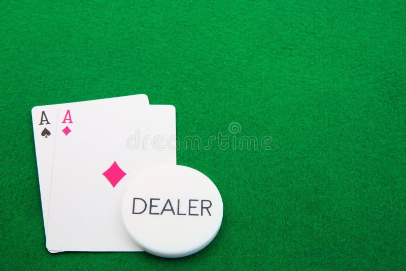 Aces пары торговца зеленые Стоковая Фотография RF