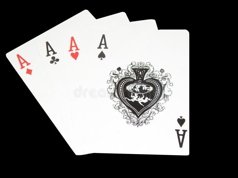 Aces on black stock photos