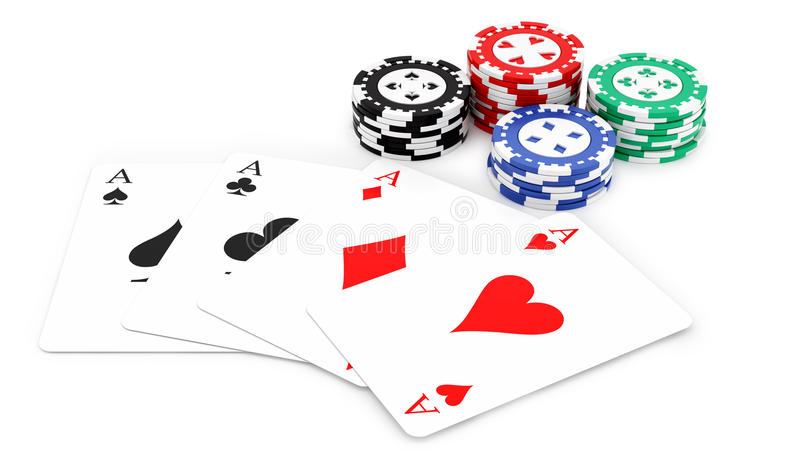Aces and casino chips. Render of 4 aces and casino chips, on white stock illustration