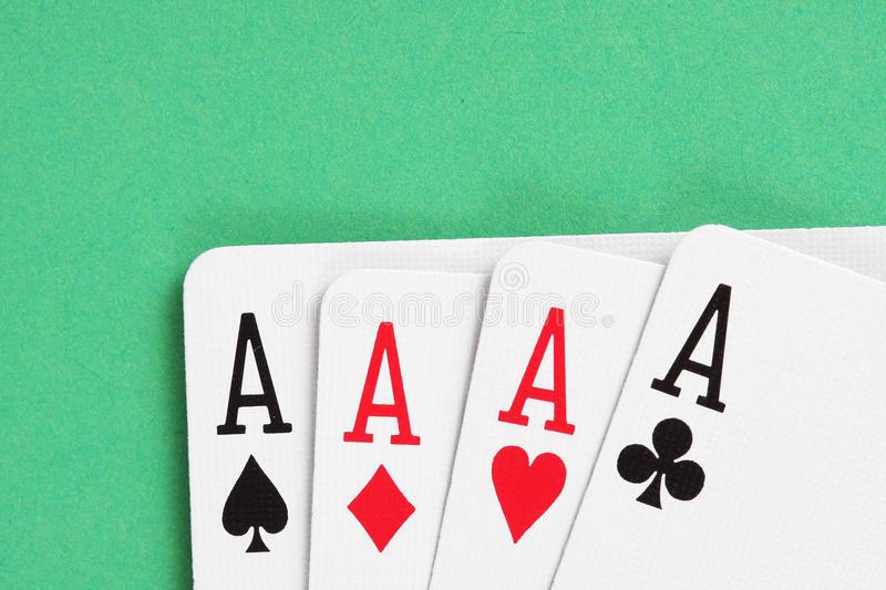Aces playing cards detail stock photos