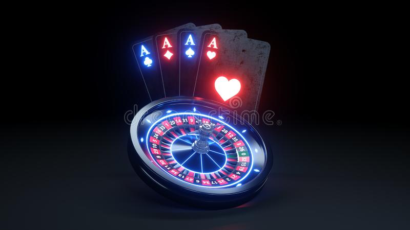 4 Aces Playing Cards and Roulette Wheel Online Casino Concept - 3D Illustration. Casino Gambling Futuristic Concept, Roulette Wheel and Poker Cards 3D royalty free illustration