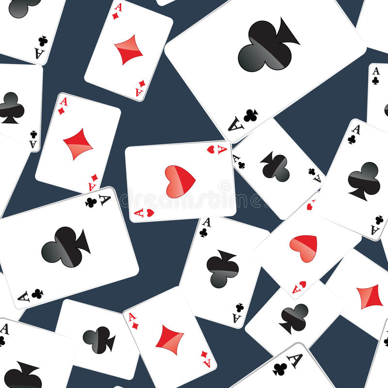 Aces playing cards seamless pattern. Seamless pattern of aces playing cards. Gambling repeating texture with randomly placed poker cards. EPS8 vector royalty free illustration