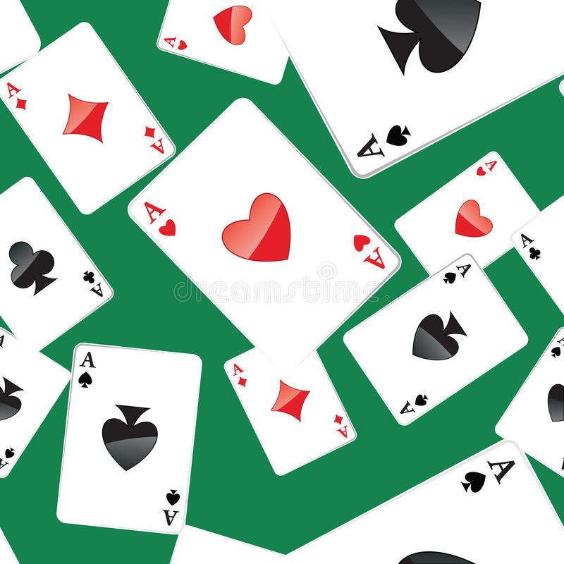 Aces playing cards seamless pattern. Seamless pattern of aces playing cards. Gambling repeating texture with randomly placed poker cards. EPS8 vector vector illustration