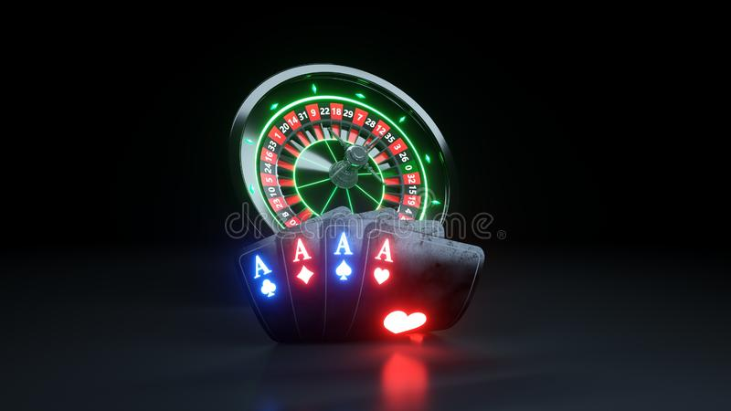 4 Aces Poker Cards and Roulette Wheel Casino Gambling Concept - 3D Illustration royalty free illustration