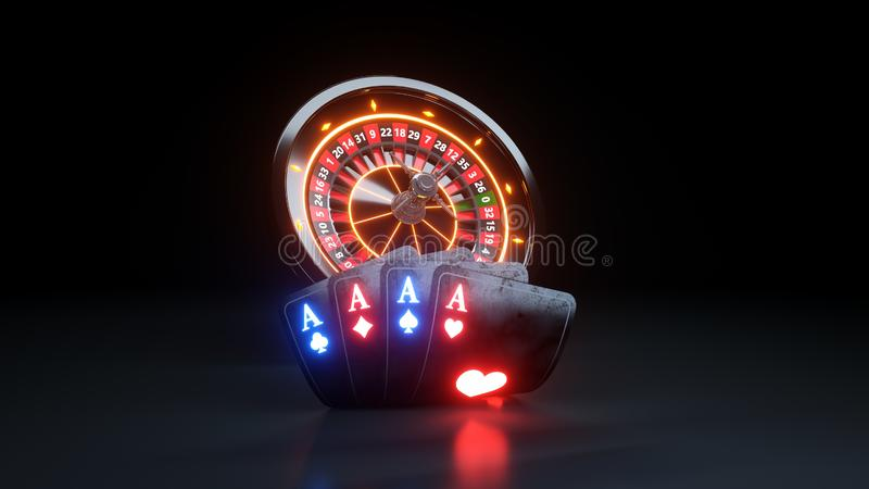 4 Aces Poker Cards and  Roulette Wheel Online Casino Gambling Concept - 3D Illustration. Casino Gambling Futuristic Concept, Roulette Wheel and Poker Cards 3D stock illustration