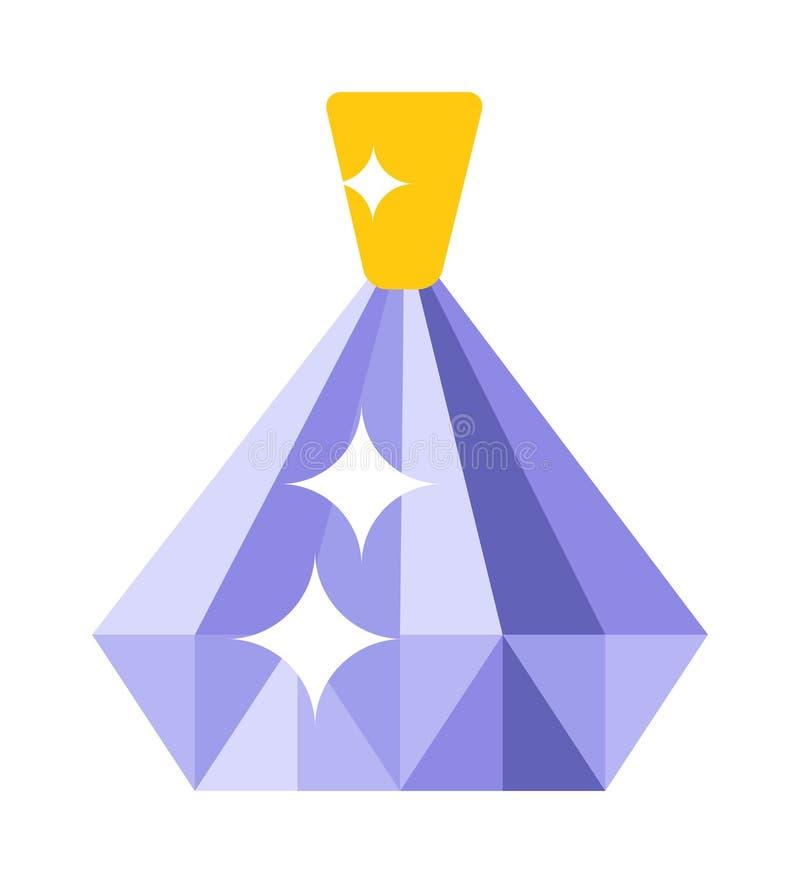 Acessório brilhante de cristal do ouro do pendente do rubi isolado ilustração stock