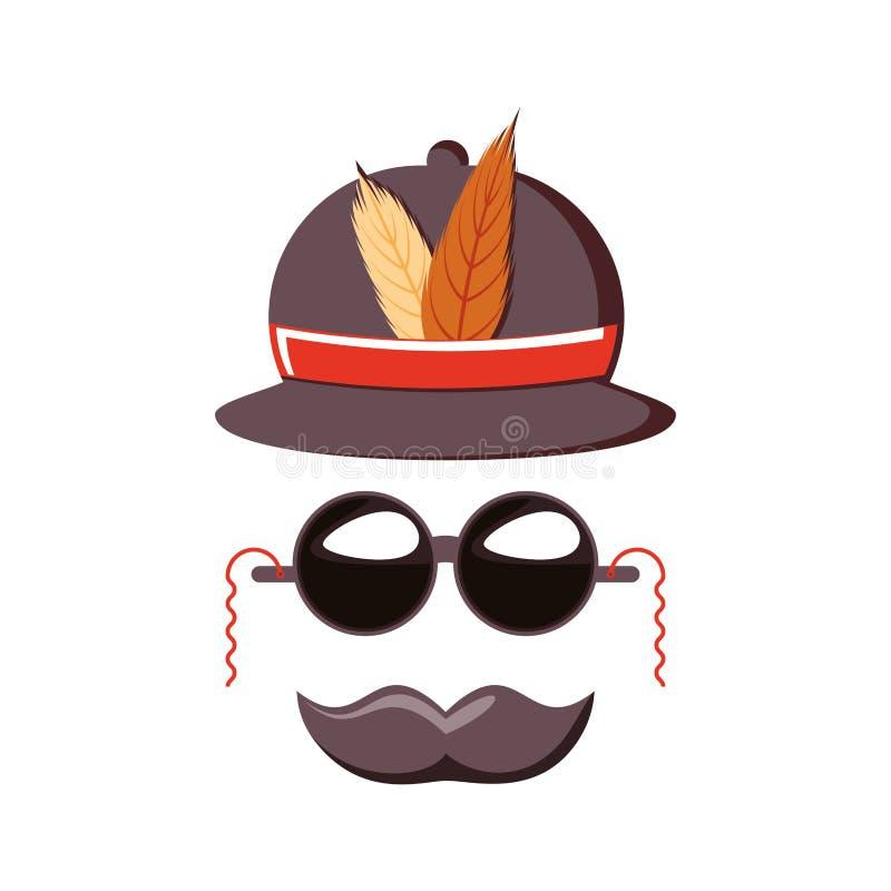 Acessório do carnaval do soldado do chapéu com óculos de sol ilustração stock