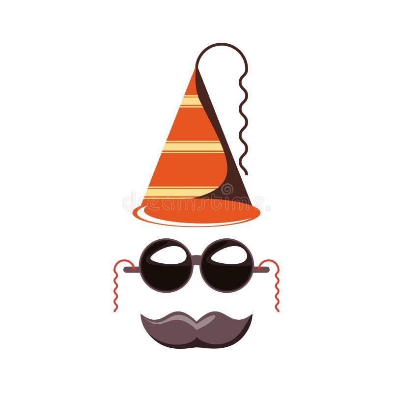 Acessório do chapéu do carnaval com óculos de sol e bigode ilustração stock