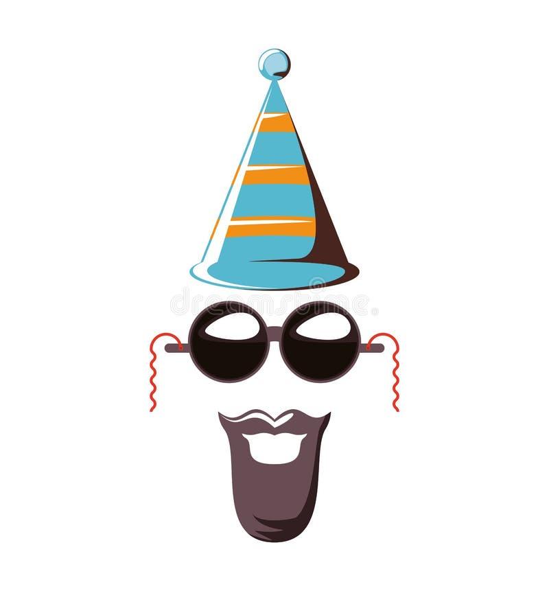 Acessório do chapéu do carnaval com óculos de sol e bigode ilustração royalty free
