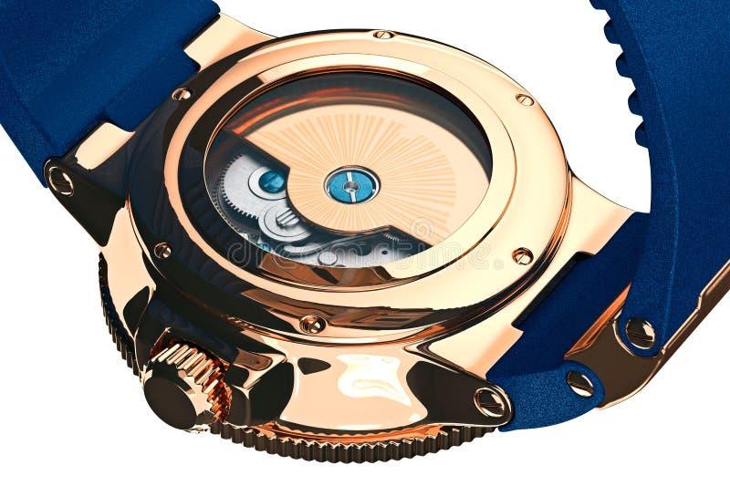 Acessório mecânico do relógio de pulso, vista próxima ilustração do vetor