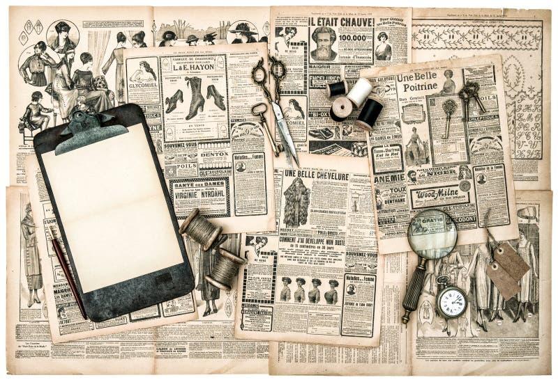 Acessórios antigos, estilo velho do vintage do compartimento de forma imagem de stock royalty free