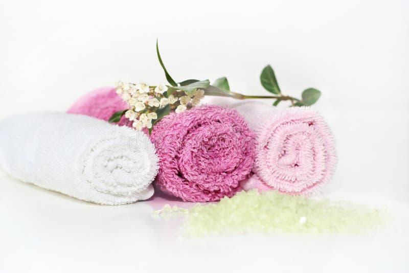 Acessórios cor-de-rosa do banho foto de stock royalty free