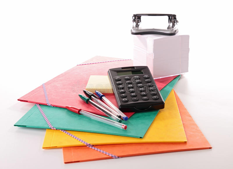 Acessórios da escola ou do negócio fotos de stock