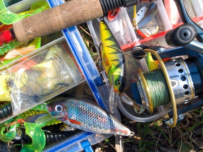 Acessórios da pesca foto de stock