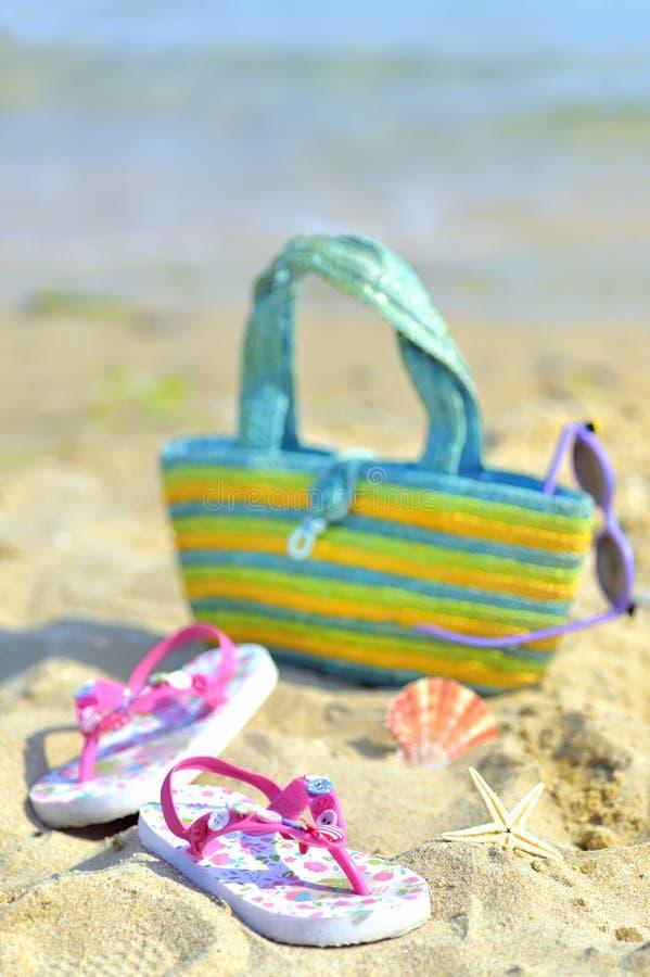 Acessórios da praia das crianças imagem de stock
