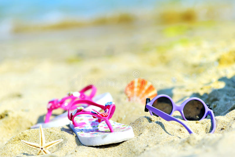 Acessórios da praia das crianças foto de stock
