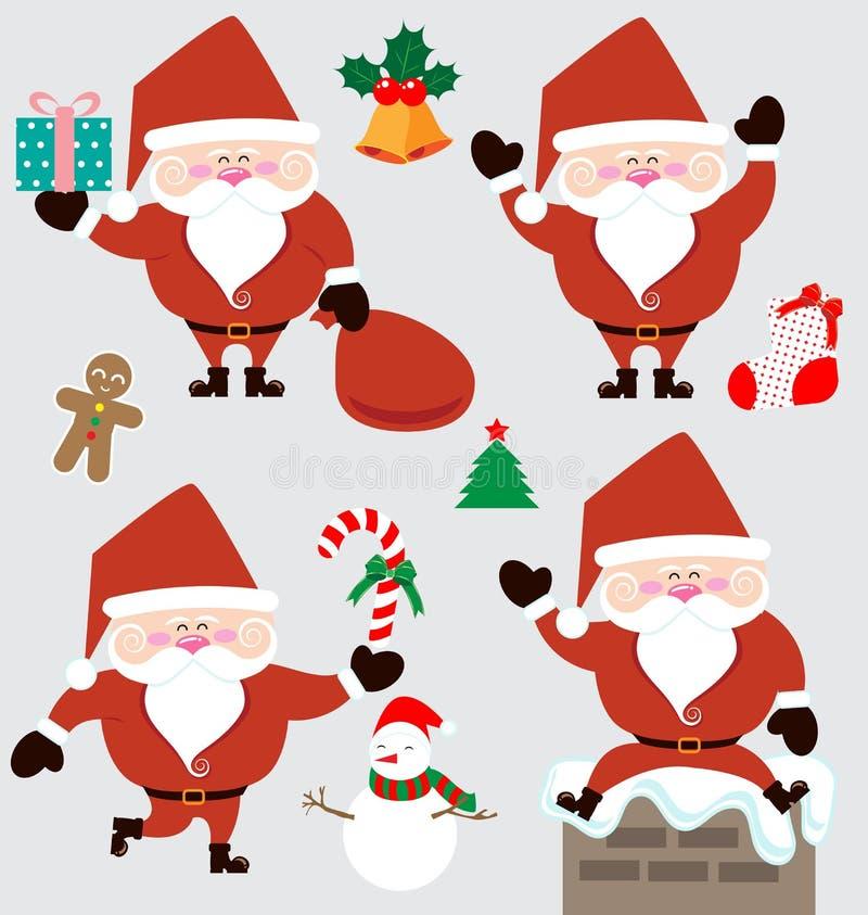 Acessórios de Papai Noel e de Natal ilustração do vetor