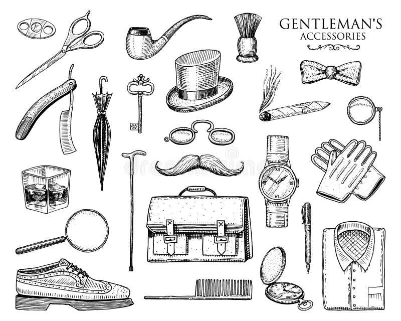 Acessórios do cavalheiro ajustados moderno ou homem de negócios, era do victorian vintage tirado mão gravado brogues, pasta, cami ilustração stock