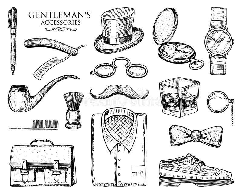 Acessórios do cavalheiro moderno ou homem de negócios, era do victorian vintage tirado mão gravado brogues, bigode, camisa e ilustração stock