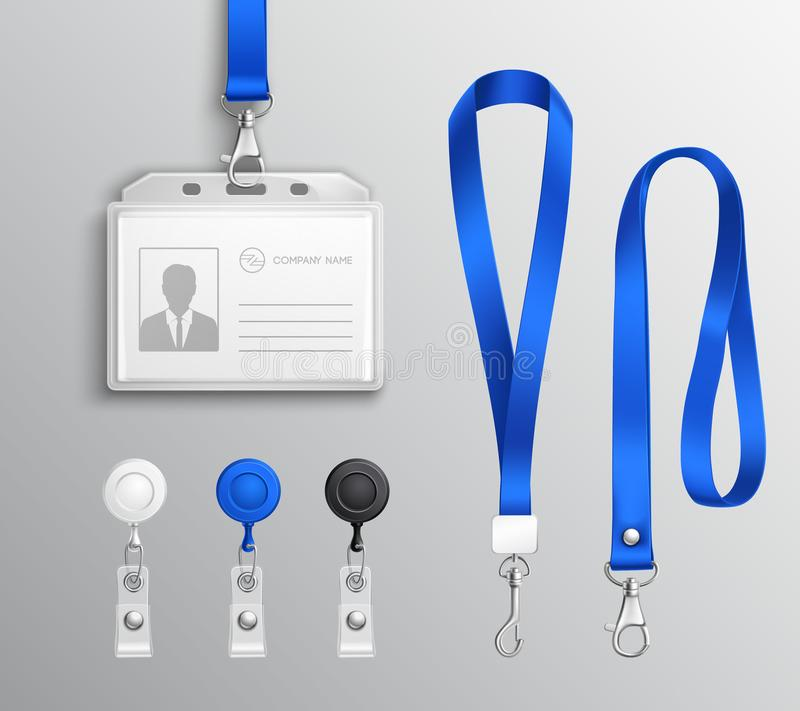 Acessórios do crachá do cartão de identidade ajustados ilustração do vetor
