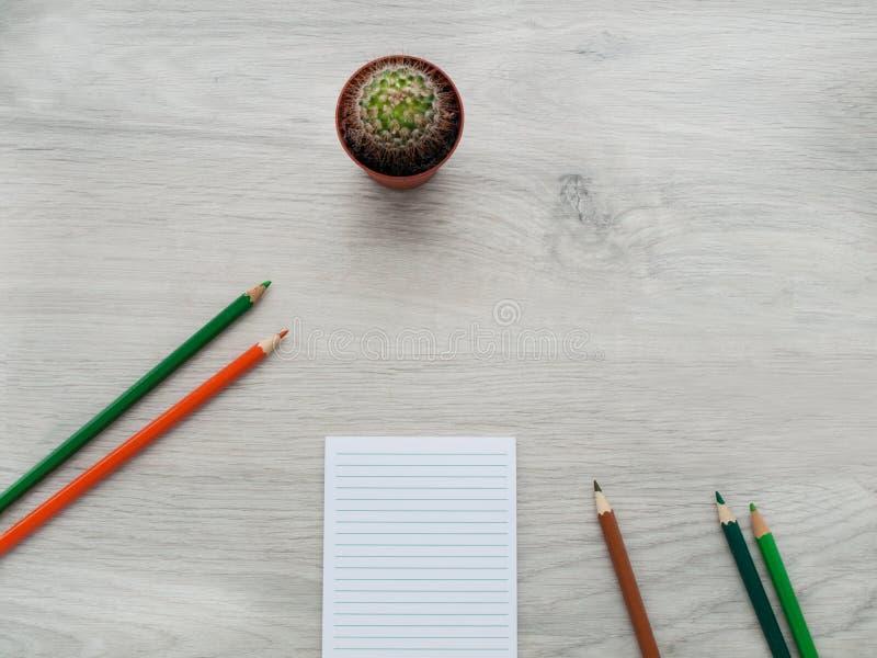 Acessórios do escritório: um caderno pequeno aberto, lápis da cor, cacto em um desktop cinzento de madeira Vista superior Copie o imagens de stock royalty free