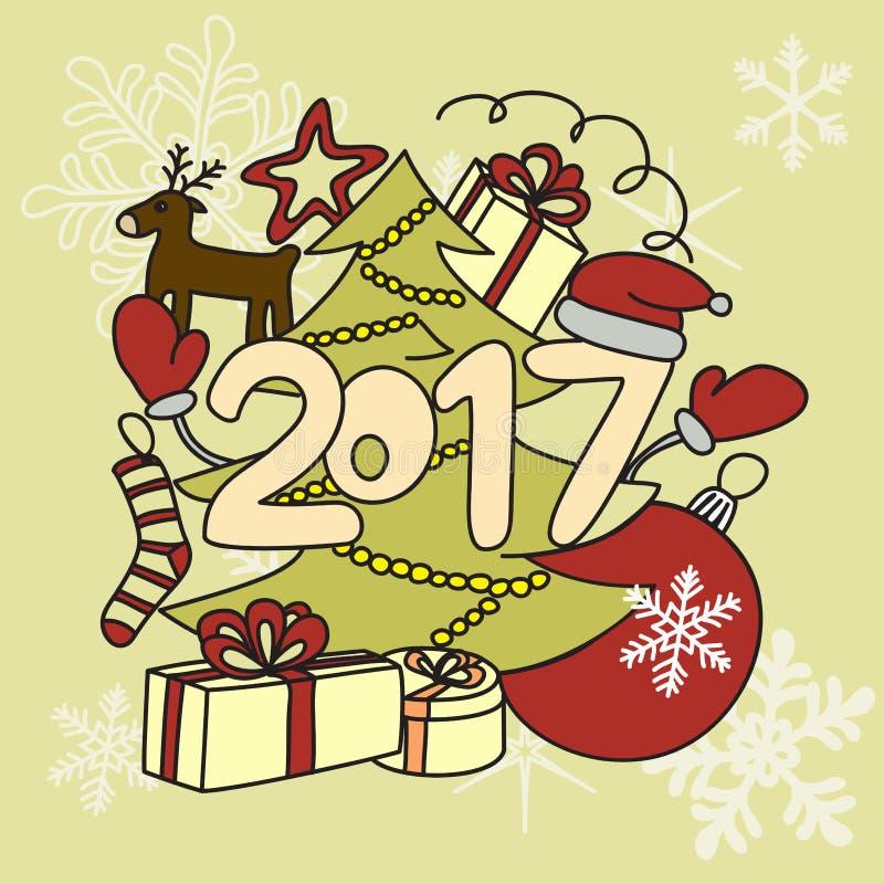 Acessórios do inverno da imagem Ano novo 2017 e Natal fotos de stock royalty free