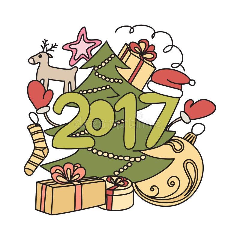 Acessórios do inverno da imagem Ano novo 2017 e Natal foto de stock royalty free