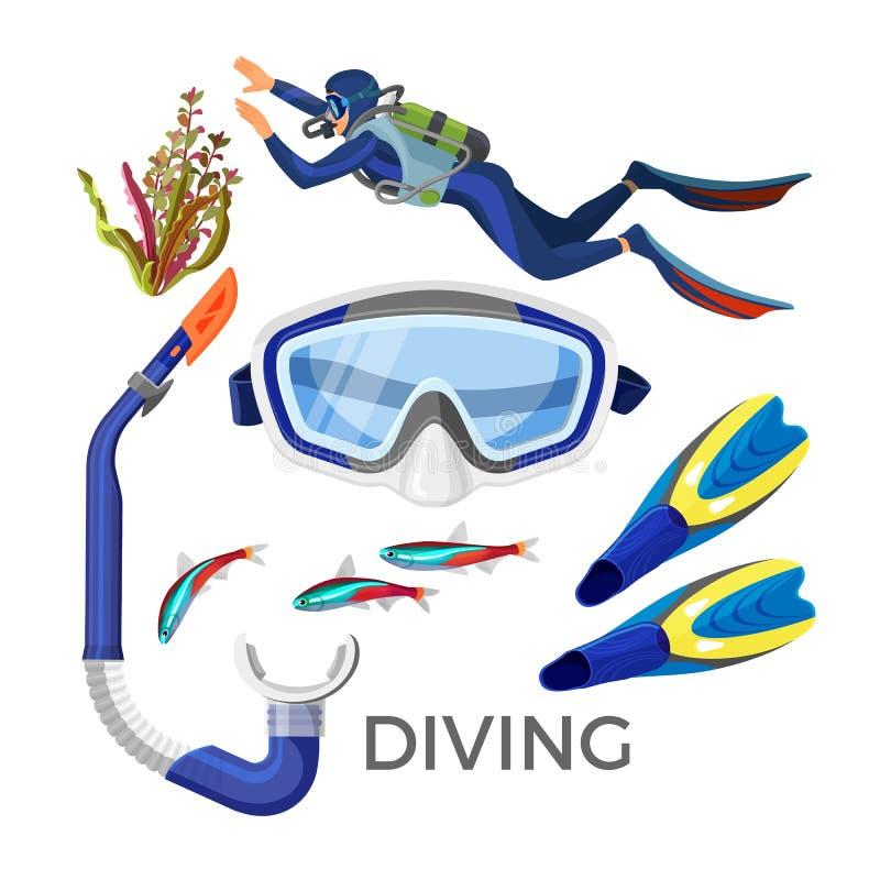 Acessórios do mergulho como óculos de proteção do silicone, tubo de borracha, aletas azuis, ilustração do vetor