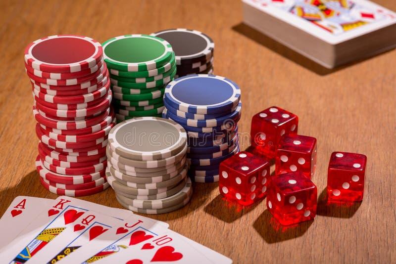 Acessórios do pôquer fotografia de stock royalty free