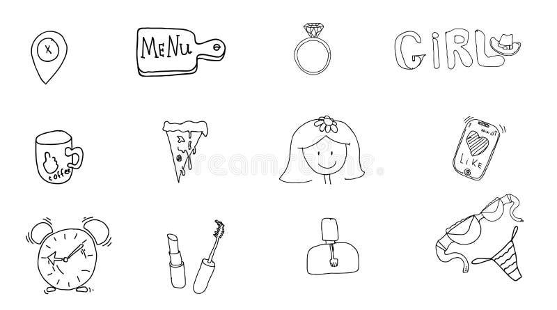 Acessórios do ` s da menina Sinais e símbolos da menina Vetor tirado mão da garatuja ajustado para meninas Ícones modernos da pri ilustração do vetor