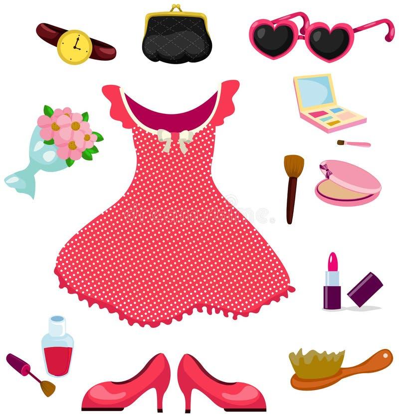 Acessórios do vestido da menina e grupo do cosmético ilustração stock