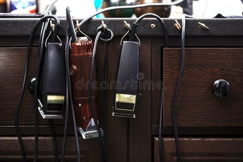 Acessórios e ferramentas do barbeiro imagens de stock royalty free