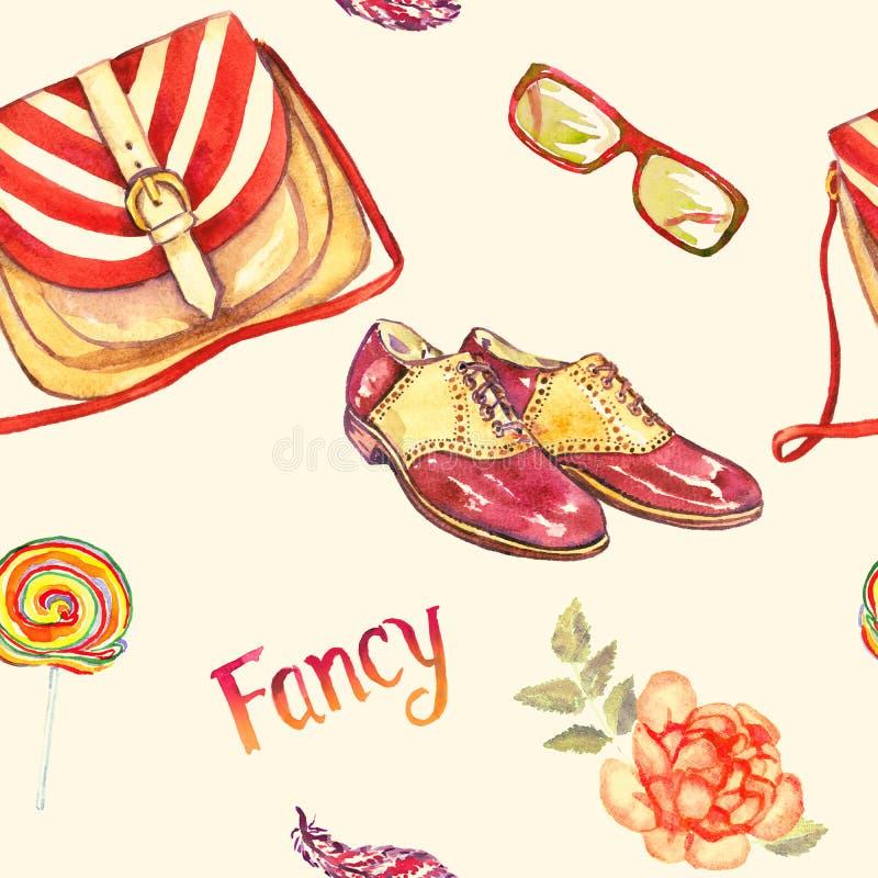 Acessórios extravagantes, tipo listrado do saco da sela, vidros, sapatas de sela de couro, pirulito colorido, pena e rosa do verm ilustração royalty free