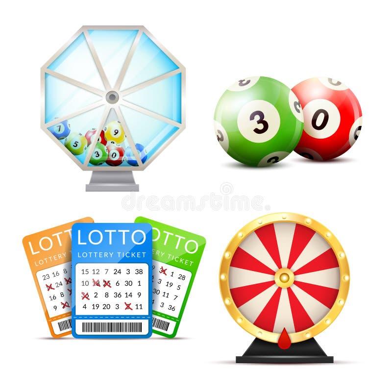 Acessórios realísticos da loteria ajustados ilustração royalty free