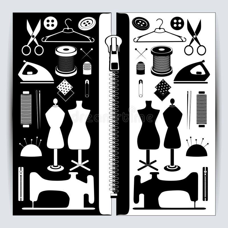 Acessórios Sewing ajustados ilustração do vetor